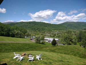 From Hilltop Lodge - view over Rose River Valley with Blue Ridge & Old Rag in the Background