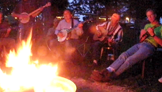 Bluegrass Pickers around the campfire at Graves Mountain Farm & Lodges - and Campground