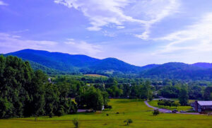 View of the valley at Graves Mountain Campground by Shenandoah National Park