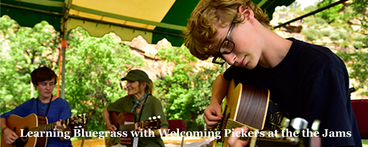 Youngsters learning Bluegrass at Jams at Graves Mountain Campground