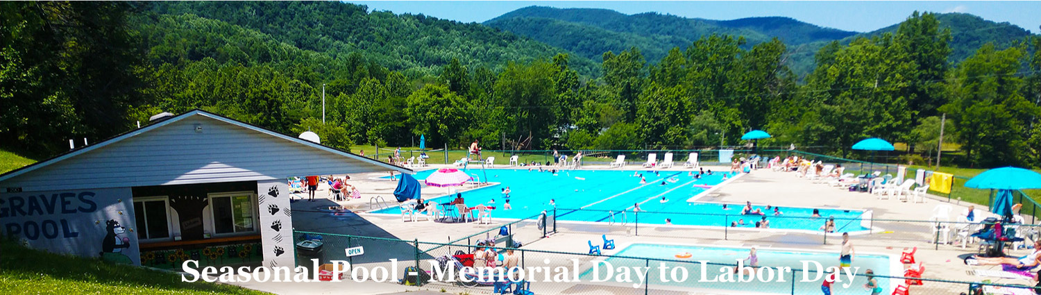 Huge pool at Graves Mountain Farm & Lodges in the Blue Ridge of VA