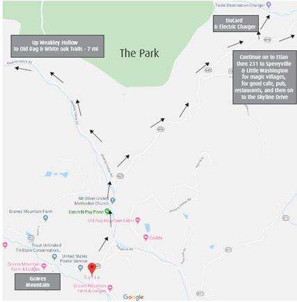 Map from Graves Mountain to Old Rag, Whiteoak Canyon DuCard Vineyard, Etlan & Sperryville