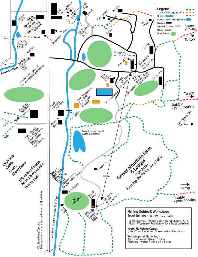 Graves Mountain Farm map-  of the farm, lodges, cabins, activities