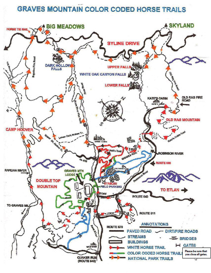 Graves Mountain Farm Stables Trails and Hiking into Shenandoah National Park - Map