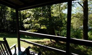 Looking dowhill - Main Lodge behind band of trees