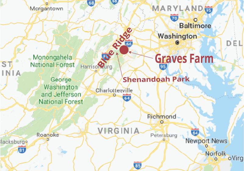 Map location on Va area of Graves Mountain Farm & Lodges