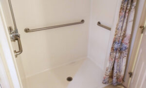 Handicapped Accessible bathroom with roll-in shower
