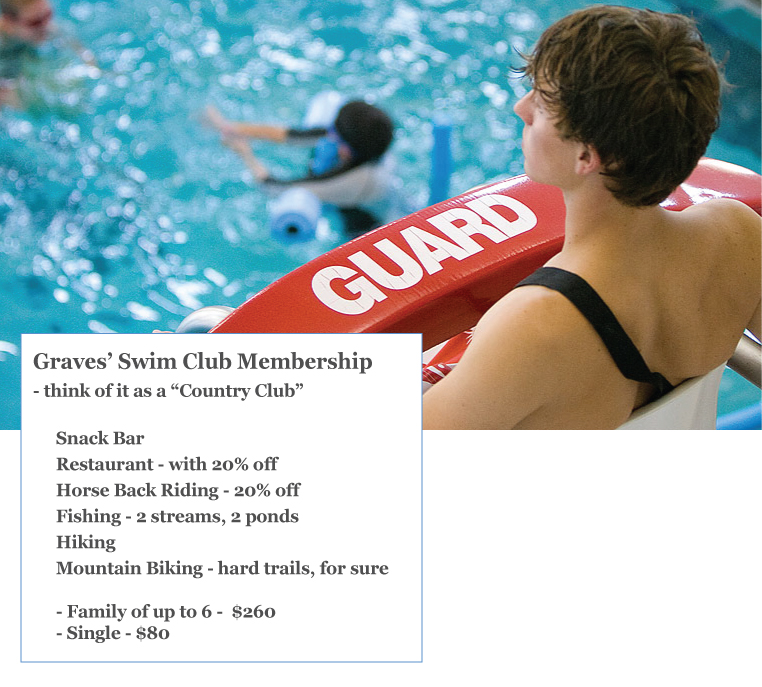 Pool Swim Club at Graves Mountain - like a country club, activities, food at a discount, adventure classes at a discount