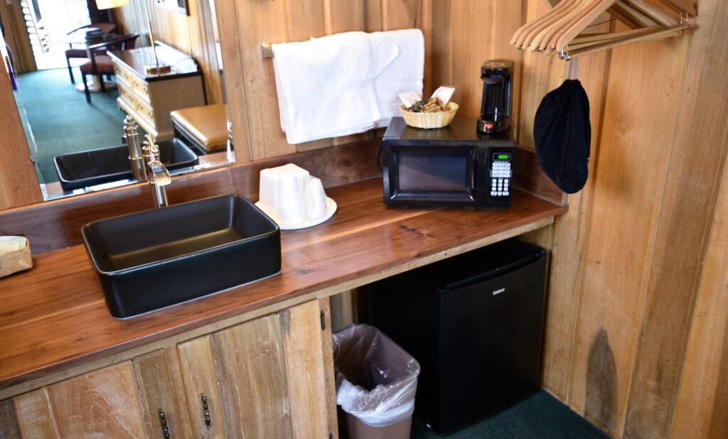 Vanity Area with microwave and fridge - Blue Ridge Lodge Room