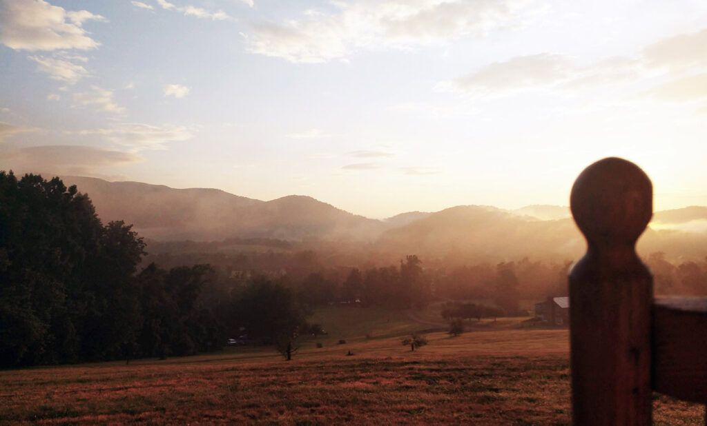 Summer Sunrise at Hotel Lodge Rooms - Blue Ridge View Lodges on Doubletop Mountain