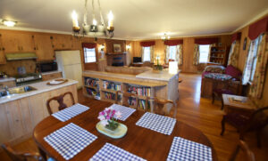 Open plan dining, kitchen and living